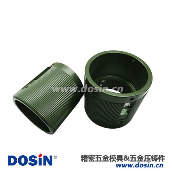航空头电镀军绿直套筒铝合金压铸壳体